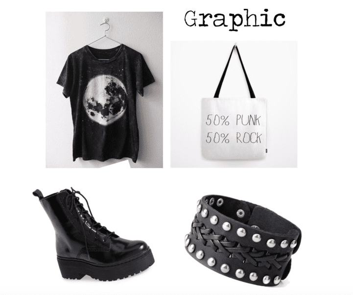 Wear graphic tees and totes for a great punk rock look