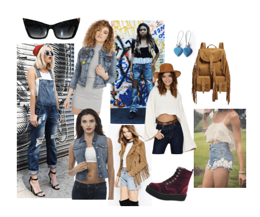 Boho beauty style with denim fashion items!