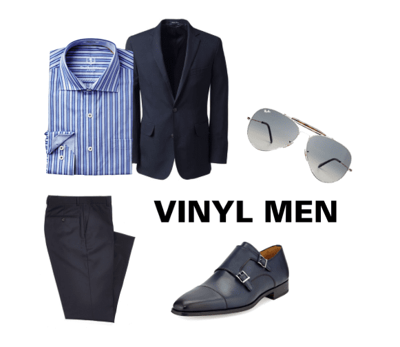 Wear a matching suit jacket and dress pants with loafers and a striped shirt to achieve the rock n' roll Vinyl men's look.
