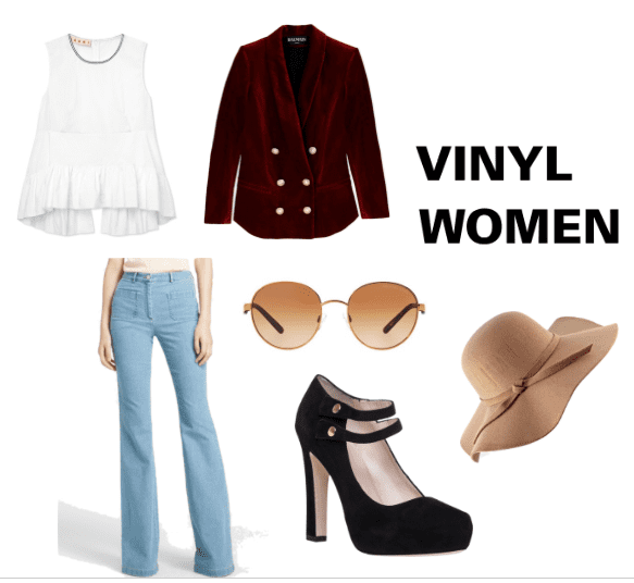 Wear a ruffle tank top with a velvet jacket and bell bottom jeans for a women's Vinyl look!