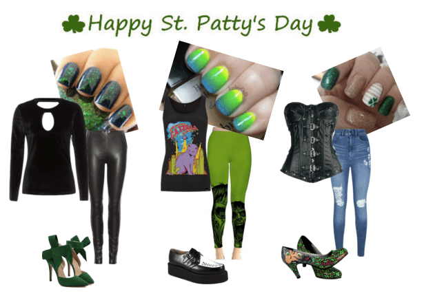 St. Patrick's Day style with edgy nail art!