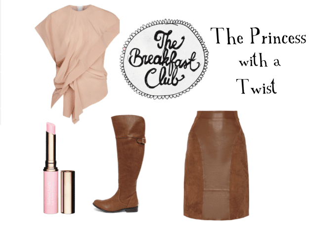 Wear blushed tone pinks with brown leather for a perfect Princess with a Twist look