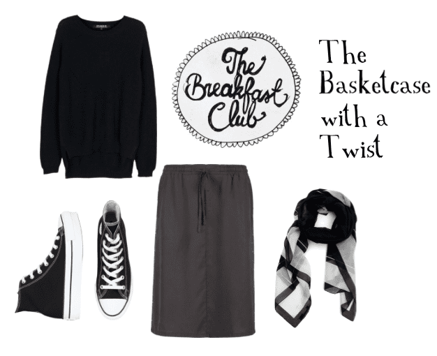 Wear a loose skirt, sweater, and sneakers for the perfect Allison look from The Breakfast Club