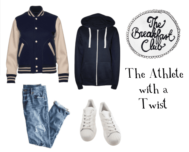 Steal the Athlete look from the Breakfast Club with a hoodie, varsity jacket, jeans, and white sneakers