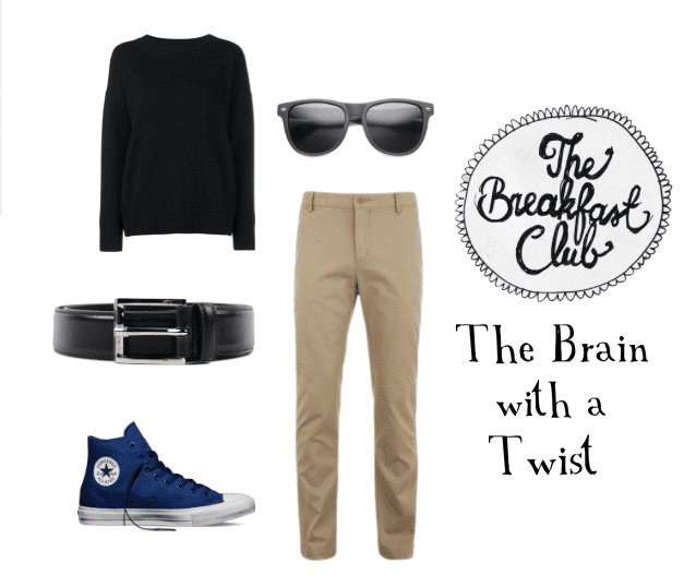Get Brian's look from the Breakfast Club by wearing khaki pants, a sweater, and blue sneakers