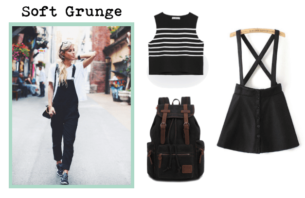 Wear an overall dress with a striped tank for a soft grunge look.