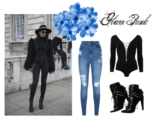 Wear a bodysuit and distressed jeans for a glam punk look.