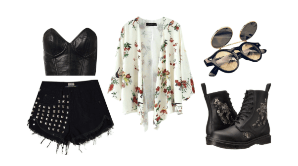 Wear a leather corset, floral cover up, and daisy duke shorts for a feminine but edgy outfit.