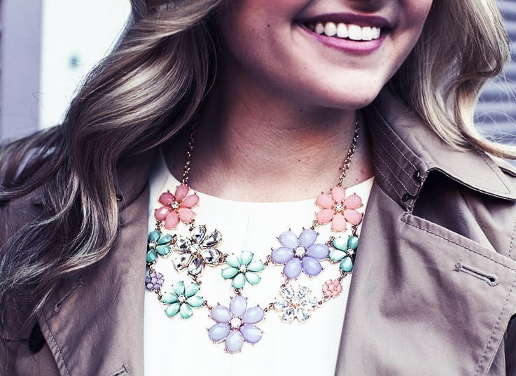 Pastel statement jewelry can give a pop of color to your summer outfit.