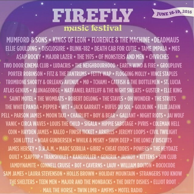2016 Firefly Music Festival Lineup