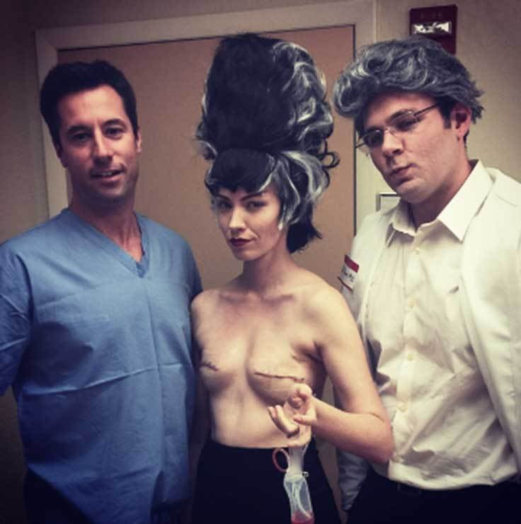 """One week after my double mastectomy was Halloween, so I dressed like Bride of Frankenstein to get my drain bag removed. It was the first time I saw my post-surgery breasts and I realized that I looked like a badass."""