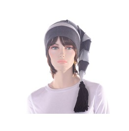 Goth Gray Striped Stocking Hat Tassel