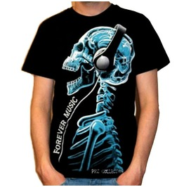 Forever Music Skull Skeleton Head Sound Tattoo Rock Heavy Metal T Shirt Tee Tshirt