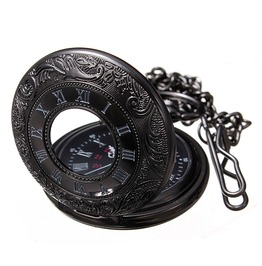 Black Engraved Men's Pop Open Quartz Pocket Watch