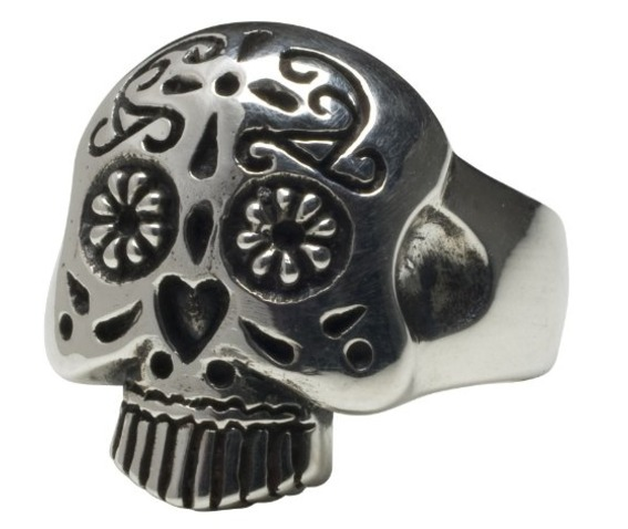 Femme Metale .925 Sterling Silver Sugar Skull Ring 5 12-Rings