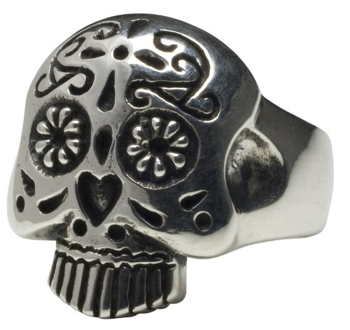 Tattoo Femme Metale .925 Sterling Silver Sugar Skull Ring 5 12 - Rings