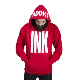 Big Ink Men's Midwieght Pullover Hoodie Red/White