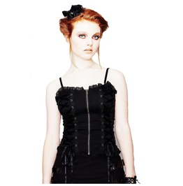 Hell Bunny: Steampunk Gothic Victorian Alternative Steam Punk Corset Top Front Zip Black Lace Trim. Sizes Xs Xl