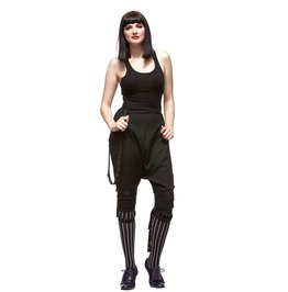 Hell Bunny: Steampunk Gothic Victorian Alternative Medusa Braces Knickerbocker Breeches Capri ¾ Length Trousers Long Shorts. Sizes Xs Xl