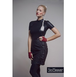 Leatherette Skirt Matte Black Structure Stitched Leatherette