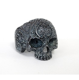.925 Oxydized Sterling Silver Skull Sugar Flower Ring-Rings