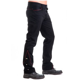 Shitsville Clothing Military Pants Black Cotton Uniform Red Outline Steampunk Gothic Made Italy