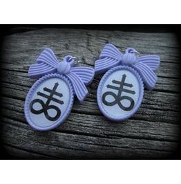 Purple Satanic Cross Earrings