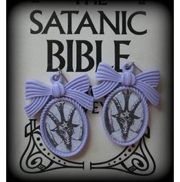 Purple Satanic Baphomet Earrings