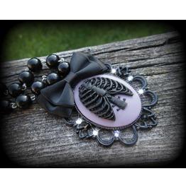 Purple Black Ribcage Cameo Necklace Swarovski Crystals