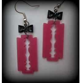 Pink Acrylic Razor Blade Earrings Bow