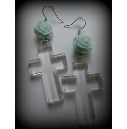 Mint Flower Cross Earrings