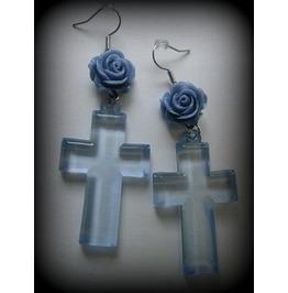 Blue Flower Cross Earrings