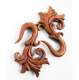 "Sono Wood Tribal Floral Carved Earrings Gauges Hangers (Pair) 3mm (8g) 6mm (2g) 12mm (1/2"") 14mm (9/16"")"