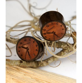 "Sono Wood Clock Earrings Gauges Plugs (Pair) 10mm (00g) 12mm (1/2"") 14mm (9/16"") 16mm (5/8"") 19mm (13/16"")"