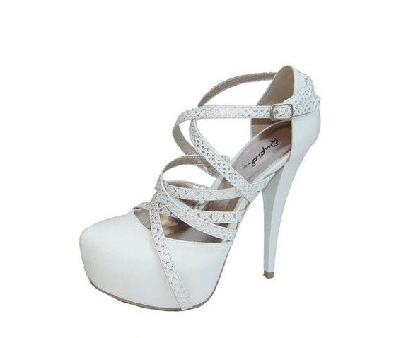 White Heels With Golden Tinted Straps-Heels