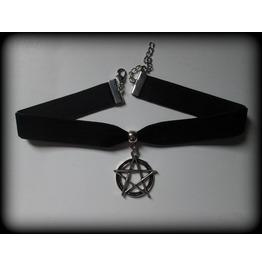 Silver Pentagram Velvet Ribbon Choker Necklace