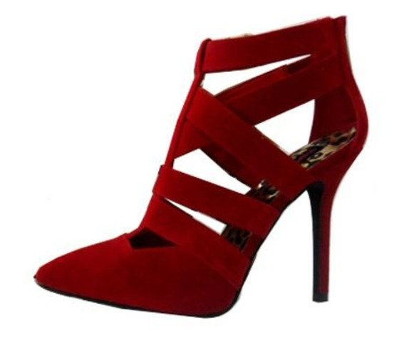 Pointie Toed Red Heel With Straps-Heels