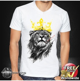 Fc0012 Men's V Neck T Shirt Lion King S M L Xl Xxl Mens Tee 100% Cotton White