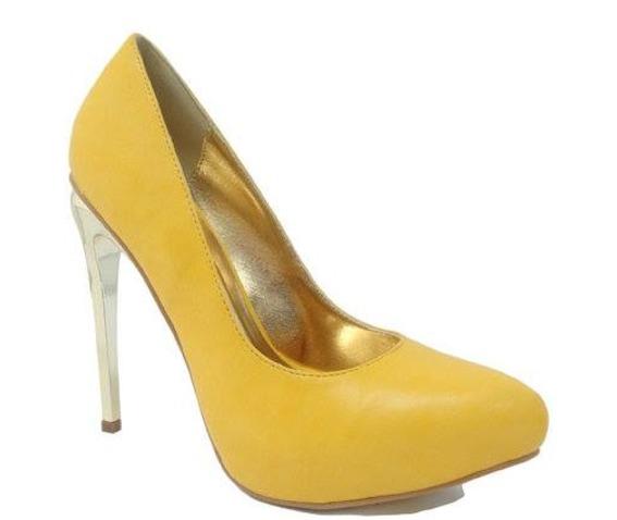 Yellow Shoe With Golden Heel And Interior-Heels