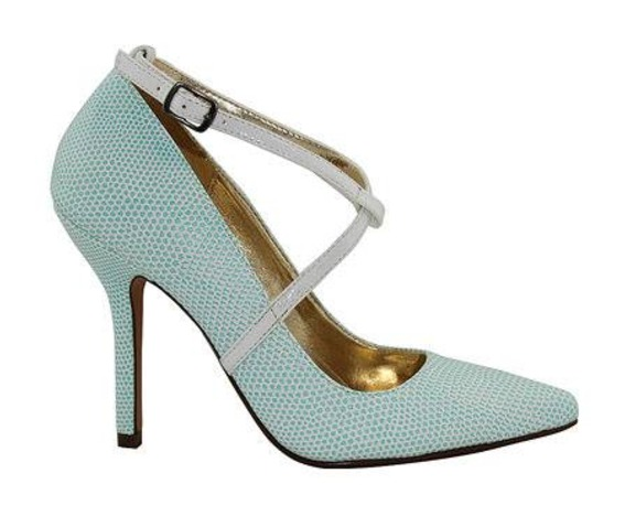White/Green Leather Heel With Mary Jane And Ankle Stra-Heels