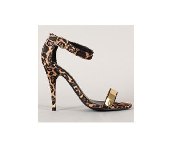 Animal Print Heel Sandle With Golden Detail On Strap-Heels