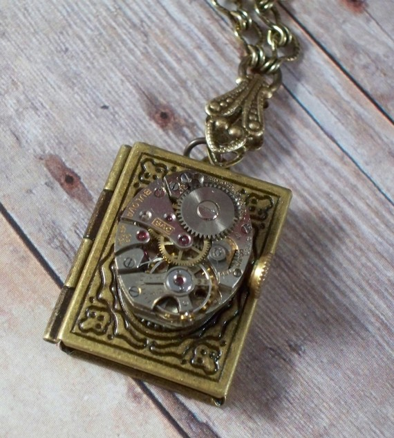 victorian book locket necklace steampunk