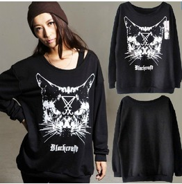 Black craft cat designed black white sweatshirt for women hoodies and sweatshirts 7