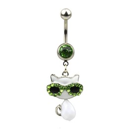 Cool! White Puddy Cat Green Crystal Belly Bar