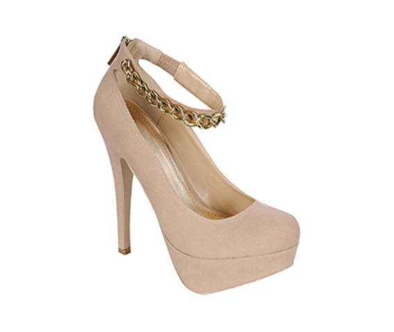 Nude Heel With Ankle Studded Strap-Heels