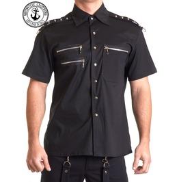 Shitsville Black Zipper Punk Stud Shirt Made Italy