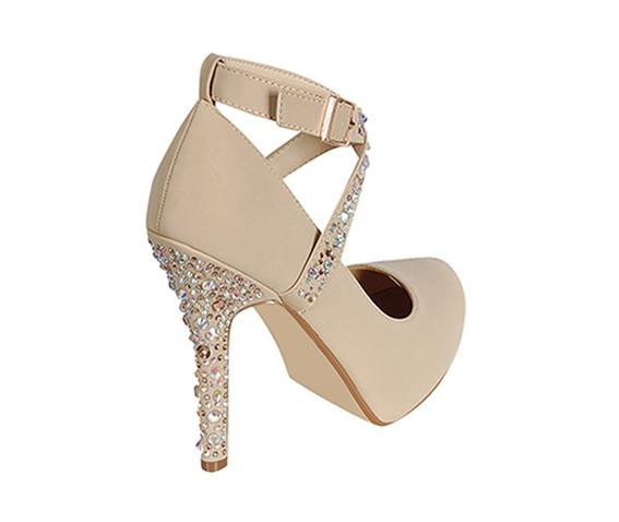 Beidge Shoe With Studded Heel And T Strap-Heels