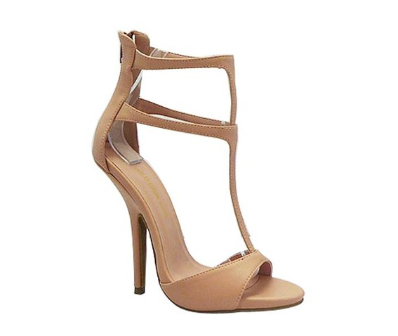 Nude Sandle Heel With A Double T Strap-Heels