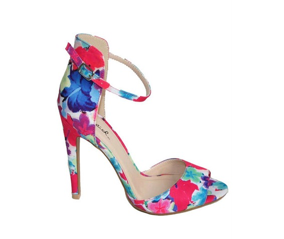 Floral Print Sandal Shoe With Ankle Strap - Heels