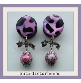 Pink Leopard Print Mother Pearl Dangle Plugs 16mm